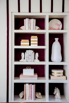 built-in book case decor ideas // Jeweledinteriors One Room Challenge BIG REVEAL || ORC, One Room Challenge, House Beautiful, Jeweled Interiors, Big reveal, week 7, blushingly romantic, great-room, living room, make-over, makeover, make, over, beautiful, DIY, tutorial, burgundy, blush, colorful, art, marble, brass, gold, removable wall paper, stripes, shelf, built in, wallpaper, bookcase, MCM, vintage,