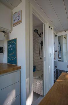 Van Conversion Bathroom, Van Conversion Interior, Camper Van Conversion Diy, Van Interior, Van Conversion With Shower, School Bus Conversion, Kitchen Interior, Bus Camper, Camper Life