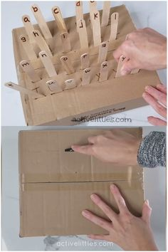 Simple and easy diy alphabet activity for kids. Perfect for practicing fine motor skills in a fun way for children to learn the alphabet, colors, or even numbers. Try this cardboard box activity using craft sticks for so many fun learning play ideas. Motor Skills Activities, Preschool Learning Activities, Infant Activities, Fun Learning, Teaching Kids, Learning Activities For Kids, Activities For 4 Year Olds, Jolly Phonics Activities, Kids Learning Alphabet