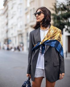 SeldaG в Instagram: «New obsession: scarves 😍⭐️» Street Style Outfits, Looks Street Style, Looks Style, Cool Outfits, Fashion Week, Look Fashion, Fashion Outfits, Womens Fashion, Fashion Trends