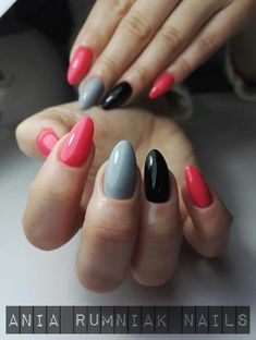 Love these colours together gelish nail art ногти, дизайн но Love Nails, How To Do Nails, Gorgeous Nails, Pretty Nails, Acrylic Nail Shapes, Gel Nail Art, Gelish Nails, Diy Nails, Pointed Nails