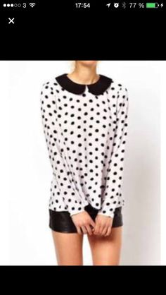 online retailer 62f2c b22af Black White Polka Dot Print Peter Pan Collar Chiffon Shirt ( 20) ❤ liked on