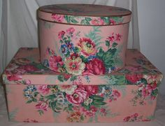 Wall paper vintage floral shabby chic hat boxes 35 ideas for 2019 Vintage Hat Boxes, Vintage Tins, Shabby Vintage, Vintage Floral, Fabric Covered Boxes, Fabric Boxes, Pretty Box, Shabby Chic Decor, Decorative Boxes