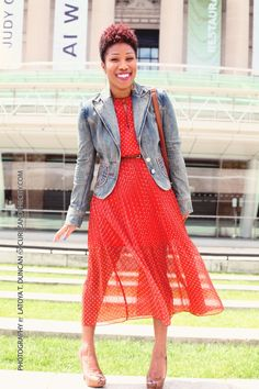 Maison Jules Orange Pleated Dress | Jean Blazer | CurlzAndTheCity.com