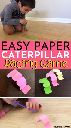 Easy Paper Caterpillar Racing Game - Have high-energy kids at home who love a good old race with their siblings? This easy to DIY paper - Easy Arts And Crafts, Easy Crafts For Kids, Projects For Kids, Diy For Kids, Crafts For 3 Year Olds, Toddler Preschool, Toddler Crafts, Energy Kids, High Energy