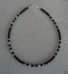 Black-Turquois-Silver-Anklet-Ankle-Bracelet-Native-Made