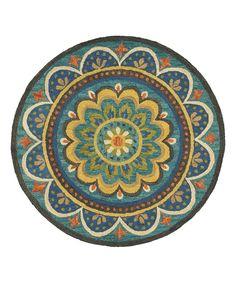 Blue Wool Floral Medallion Area Rug