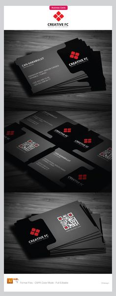 Black Corporate Business Cards Design, with red color corporate logo that outstanding on the card with its contrast. Modern style of this cards is presented by QR code with red color details.