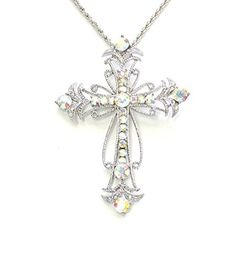 Purchase the Faship Gorgeous AB Crystal Big Cross Crucifix Pendant Necklace securely online at mariescrystals.com today.