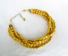 Chunky Dijon Mustard Yellow Bridal Jewelry - Yellow Turquoise Statement Necklace - Mustard Yellow Bridesmaid. $69.00, via Etsy.  #yellowweddingjewelry