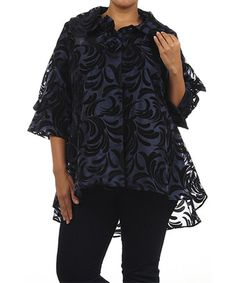 Look at this #zulilyfind! Navy & Black Flourish Jacket - Plus by Come N See #zulilyfinds