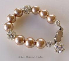 Vintage Champagne pearl & vintage rhinestone ball bracelet | Online upscale artisan handcrafted jewelry boutique | Schaef Designs Vintage Brooch Jewelry | San Diego, CA