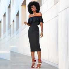 @stylepantry in our Peyton Off Shoulder Dress! Can't go wrong with an LBD! Available on Loft324.com #ootd #offshoulder #mididress #lbd by loft324