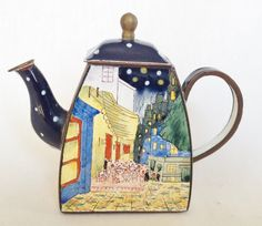 A Charlotte di Vita Trade Plus Aid teapot with a Vincent Van Gogh design Café Place du Forum.  The teapot is stamped Trade Plus Aid and the number 3030 on the bottom.  The teapot is pre owned in very good condition.