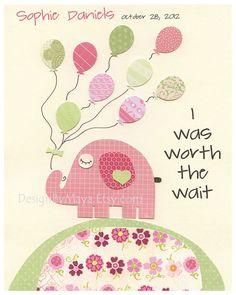 Kids Room Decor Nursery Art,  Baby boy room, baby room art, Nursery wall art print, Baby Room Decor, I was worth the wait, pink elephant. $17.00, via Etsy.