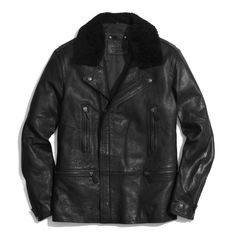 The Long Leather Moto Jacket With Shearling Collar from Coach