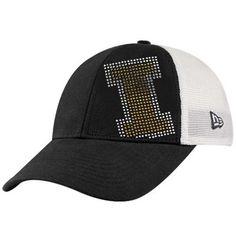 New Era Iowa Hawkeyes Ladies Black-White Jersey Shimmer Rhinestone Mesh Back Adjustable Hat
