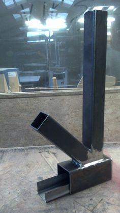 DIY rocket stove 4mm steel. Bottom 100x100x240mm, riser (75x75x600mm), feeder 75x75x300mm.