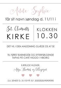 Barnedåb - Fester, Babyshower, Place Cards, Invitations, Math, Drinks, Words, Children, Inspiration