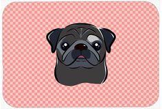 Checkerboard Pink Black Pug Mouse Pad, Hot Pad or Trivet BB1263MP