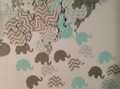 FREE SHIPPING 100 light blue and gray chevron and solid elephant confetti- baby boy shower- customize colors-