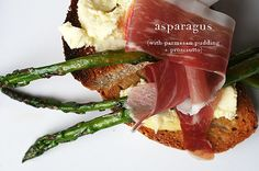 Asparagus with Parmesan Pudding and Prosciutto (adapted from A Girl and Her Pig by April Bloomfield)