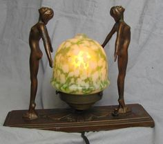 Antique ART DECO lamp with 2 Nude ladies & Art Glass Globe~Frankart style
