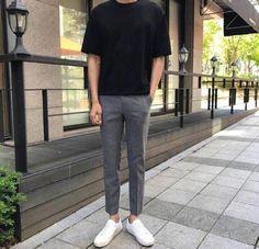 Plain black t-shirt, grey trousers, and white sneakers Korean Fashion Men, Korea Fashion, High Fashion, Stylish Mens Outfits, Casual Outfits, Fashion Outfits, Outfits Hombre, Korean Outfits, Mens Clothing Styles