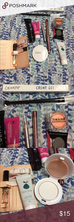 11 piece makeup bubdle Colourpop creme gel liner in show me, blending brush, naked cosmetics eyeshadow inheavy metal, peek primer, eyeliner, brow pencil, face mask, moisturizer, clinique blotting powder, mint pear vitamin c serum and chloe sample perfume. All unopened and brand new. Makeup
