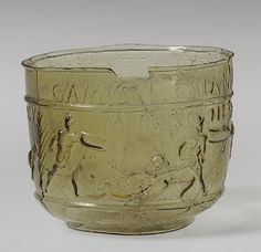 Roman Glass Gladiator Cup Early Imperial, Neronian or early Flavian, A. Roman Artifacts, Ancient Artifacts, Venetian Glass, Antique Glass, Roman History, Art History, History Essay, Ancient Rome, Ancient History