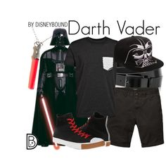 Darth Vader by leslieakay on Polyvore featuring Converse, HUGO, Scotch & Soda, disney, disneybound, MensFashion, starwars and disneycharacter