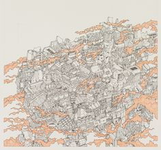 Floating City [Yamaguchi Akira]  A cityscape drawing following on from earlier surfacescape work.