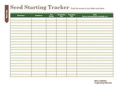 Use this seed starting tracker to track the success of all of your seed starts.