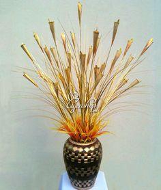 Hoa Rum vàng lá (720k)  Cả lọ và hoa mầu vàng, phong cách Châu Âu rất đẹp Paper Flowers, Diffuser