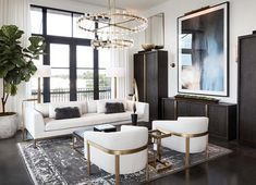 Transitional style Elegant living room decor with white modern sofa and brass decor Elegant Living Room, Elegant Home Decor, Formal Living Rooms, Living Room Modern, Home Living Room, White Living Room Sofas, Modern Living Room Curtains, Contemporary Living Rooms, Luxury Living Rooms