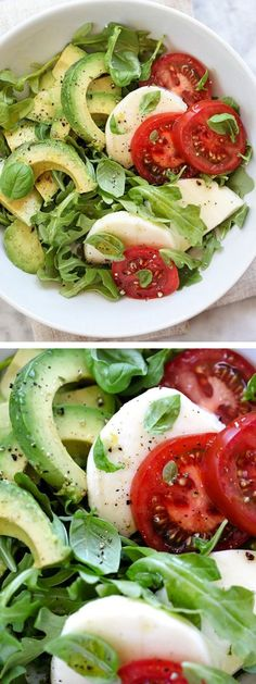 Avocado Caprese Salad Plus 5 Crunchy Avocado Salads - I'm all about getting simple and eating clean this week. Exactly why I LOVE my single serving recipe for Avocado Caprese Salad I Love Food, Good Food, Yummy Food, Tasty, Healthy Salads, Healthy Eating, Eating Clean, Avocado Salads, Avocado Food