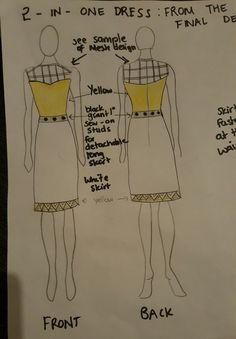 FINAL DESIGN IDEA-This is the same dress after detaching the mesh design skirt. Liberty Fashion, Yellow Black, Competition, Mesh, Skirt, Fashion Design, Dresses, Vestidos, Dress