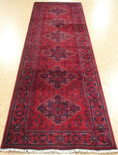 3x10 TURKMEN Afghan TRIBAL Hand Knotted Wool REDS BLUES NEW RUNNER Oriental Rug…