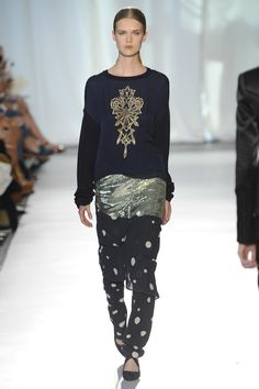 Lovely motif on the jumper with loose layered pants Sass & Bide s/s 2014