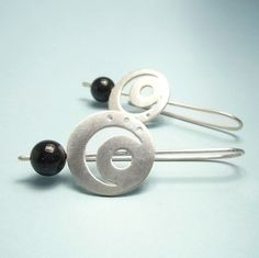 "Hand cut earrings in sterling silver, moon design, long and round, Blue Sandstone, super lightweight, ""Moon Earrings"""