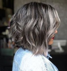 Thick+Textured+Dark+Brown+And+Silver+Bob