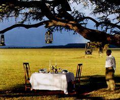 Breakfast on the Serengeti after a morning hot air balloon ride.  Serengeti National Park, Tanzania Q!