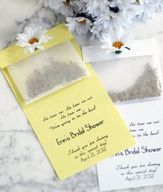 50 Best Bridal Shower Favor Ideas: daisy seed packets bridal shower (by white tulip boutique)