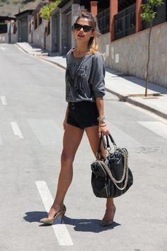 gray top black shorts sunglasses handbag casual summer outfits womens fashion clothes style apparel clothing closet ideas