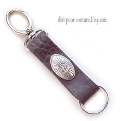 Key Chain  Fob  Brown Leather  Key Chain  Fob by DirtPoorCouture
