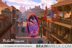 The Princess and the Frog - Look closely at the opening scene of the movie and you'll see Aladdin's Magic Carpet