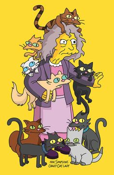 An unforgettable character in The Simpsons. Crazy Cat Lady, I redrew and edited.