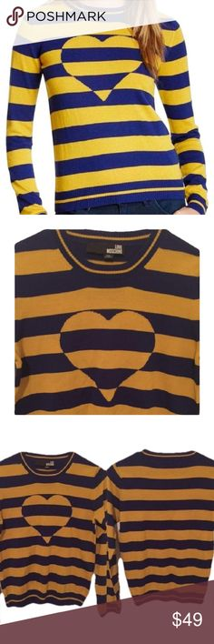 Love Moschino Wool Blend Sweater Small This wool blend Love Moschino sweater is in excellent like new condition with no stains, tears, fraying, fading or visible wear. As all of my items, it is 100% authentic. Moschino Sweaters Crew & Scoop Necks