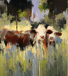 Louisiana Cows / x / Oil on linen Farm Paintings, Animal Paintings, Landscape Paintings, Garden Mural, Cow Canvas, Cow Painting, Cow Art, Watercolor Animals, Wildlife Art