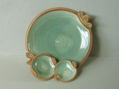 Stoneware Serving plate  Kajsa Leijström....I like how the condiment bowls are a part of the tray....